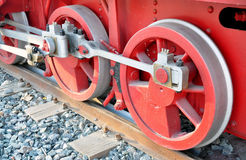 Wheels of steam locomotive Stock Images