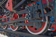 The wheels of steam locomotives. Wheels steam locomotive standing on the rails Stock Photo