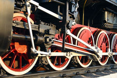 Wheels steam train. Red wheels of old steam train stock images