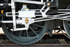 Wheels of steam train with the power parts Royalty Free Stock Image