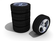 Wheels with steel rims. 3d Wheels with steel rims Stock Photo
