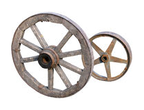 Wheels of telega on white. Wooden and iron wheels of telega on white Stock Photo