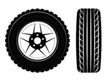 Wheels and tires are black. For a logo or emblem of a tire store or car workshop. For tire fitting. stock image