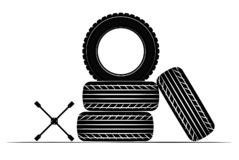 Wheels and tires are black. For a logo or emblem of a tire store or car workshop. For tire fitting. stock photo