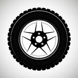 Wheels and tires are black. For a logo or emblem of a tire store or car workshop. For tire fitting. royalty free stock photo