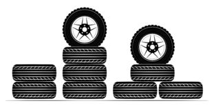 Wheels and tires are black. For a logo or emblem of a tire store or car workshop. For tire fitting. royalty free stock images