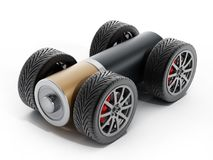 Wheels and tires connected to AA battery. 3D illustration.  stock illustration