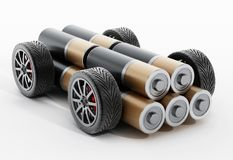 Wheels and tires connected to AA battery. 3D illustration.  royalty free illustration