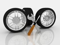 Wheels and Tools Royalty Free Stock Images