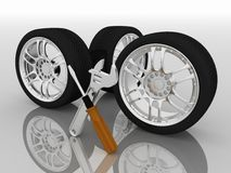 Wheels and Tools Royalty Free Stock Image