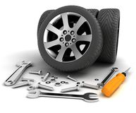 Wheels and Tools. Car service Stock Image