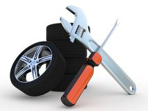 Wheels and Tools image Royalty Free Stock Photo