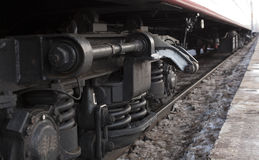 Wheels of the train. Chock the wheels of the railcar Stock Images