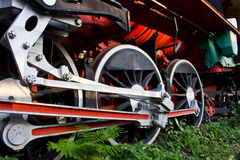 Wheels of the train. Close up wheels of the train royalty free stock photo