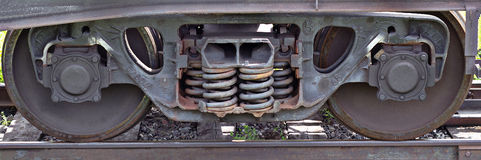 Wheels of train Stock Images