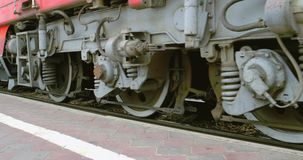 Wheels of the Train low angle. View stock footage