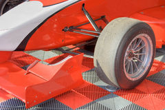 Wheels and tyres. Of red formula bolide Royalty Free Stock Images