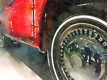 Wheels of vintage car. A side view of a vintage classic car, done in a digital watercolour illustration Stock Images