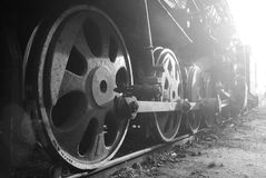 Wheels of the vintage retro train Stock Images