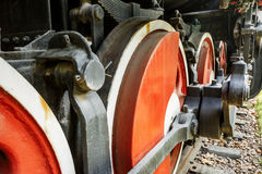 Wheels of vintage steam train Stock Photos