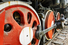 Wheels of vintage steam train Stock Images