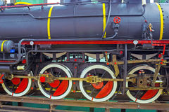 The wheels of the wagon train. New look of restored train,photography Stock Photos