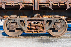 Wheels and wheel trolley heavy railway freight car. Stock Image