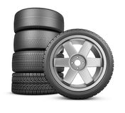 The modern wheels. Wheels on a white background. 3d rendering Stock Images
