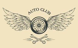 Wheels and  wings vintage emblem Royalty Free Stock Photo