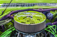 (wheels on wyandotte) green and purple engine Royalty Free Stock Photos