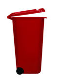 Wheely aka wheelie bin, red, isolated over white Stock Image