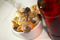 Whelks and Chillie. Whelks with traditional chillie vinegar Royalty Free Stock Photos