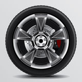 Whell Set 5. Drawing of a car tire on a white background Royalty Free Stock Photography