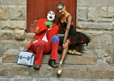 When The Clown Met The Ballerina Stock Photos