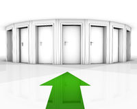 Where. Rendering of a white room with closed doors and green arrow Royalty Free Stock Images
