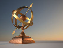 Where are we?. 3d render illustration of  conceptual armillary sphere  - celestial globe Stock Photo