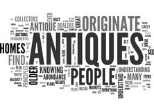 Where Antiques Originate Word Cloud Royalty Free Stock Images