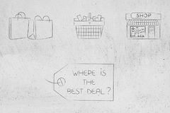 Price tag with Where is the best deal text and shopping bags basket and shop above it. Where is the best deal conceptual illustration: price tag with text and royalty free stock image