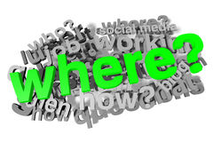 Where?, buzzword, infographic Stock Image