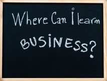 Where can I learn business? message written with white chalk on blackboard Stock Photos