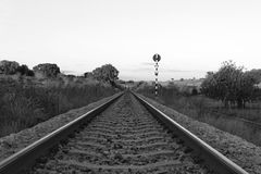 Where do we go?. Horizon in railroad royalty free stock images