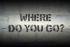Where do you go. Question stencil print on the grunge brick wall; specially designed font is used stock images