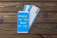 Free Where Do You Want To Go Screen Of The Mobile Phone, Air Tickets On Airplane. Royalty Free Stock Images - 128522589