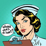 Where does it hurt nurse question Royalty Free Stock Photo