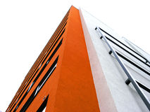 Where the ends meet. Corner of a modern orange and white dormitory building in Tartu, Estonia Stock Photography