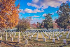 Where heroes rest in peace. Arlington National Cemetery is a United States military cemetery in Arlington County, Virginia, across the Potomac River from Royalty Free Stock Image