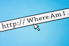 Where am I. Concept of lost direction on the cyberspace royalty free stock images