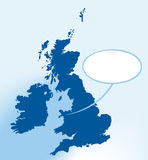 Where i am (vector). Guy between British Isles with balloon. Map lines in restricted angles (45 Stock Image