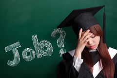 Where is job. Unhappy sad student woman graduating with chalkboard, asian beauty Royalty Free Stock Image