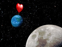 Where Love is. A pin on the Earth, indicating where we can find the love, where it should be Stock Photo